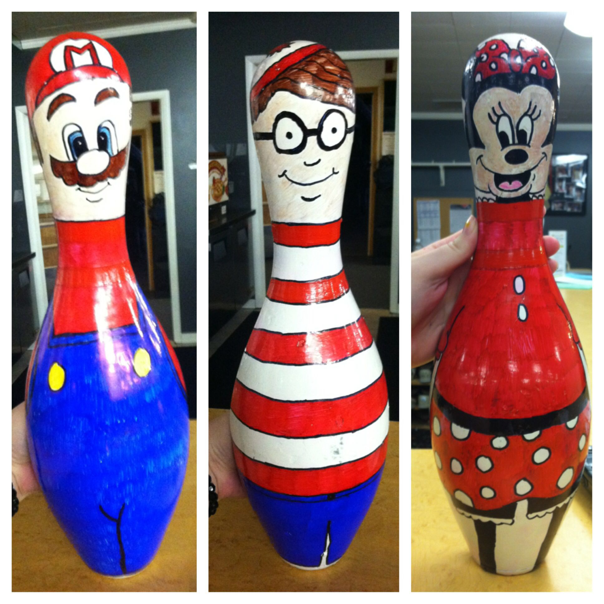 mario waldo and minnie mouse bowling pin decorations for the party