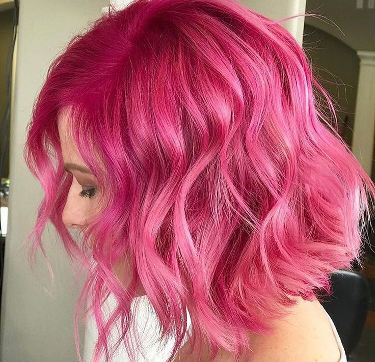 Matte Pink Textured Lob making are easier with 3 barrel curling iron   - Hair ideas -