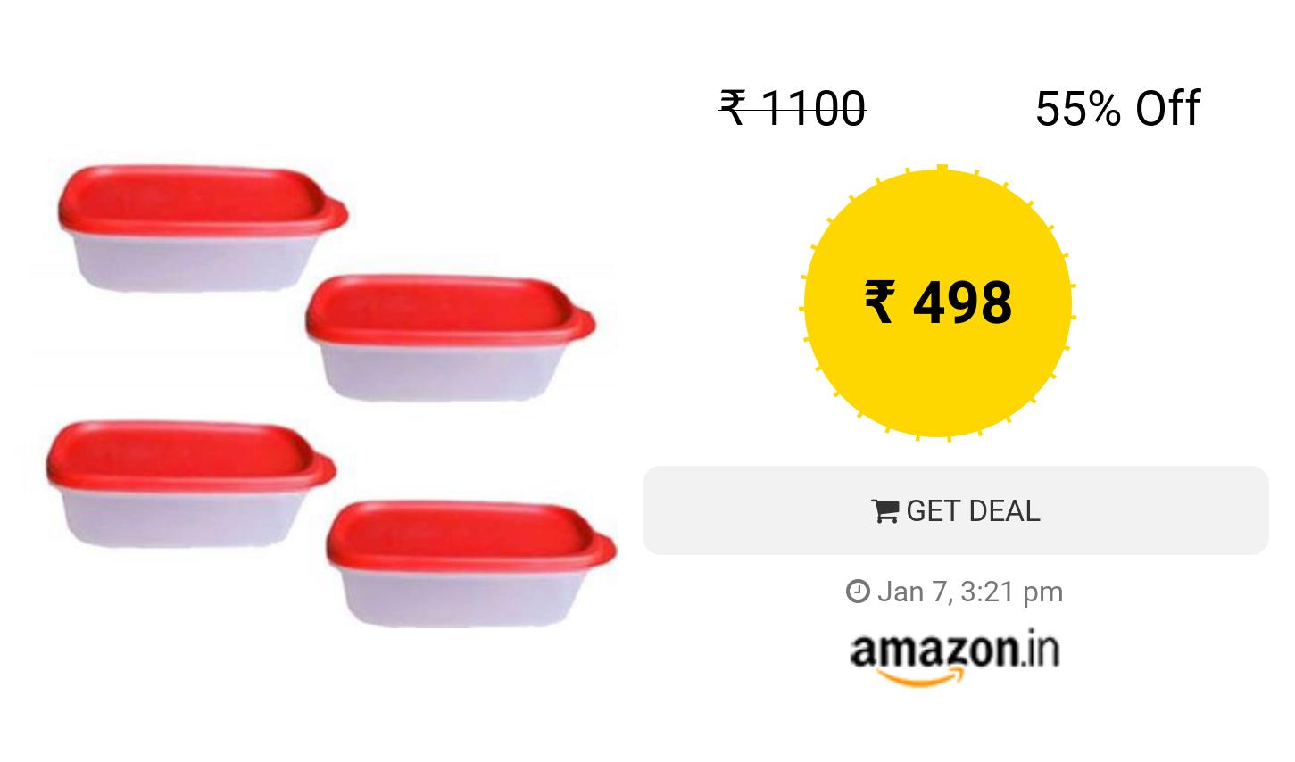 Tupperware Smart Saver Plastic Container Set 500ml Set Of 4 Red Container Set Tupperware Plastic Containers