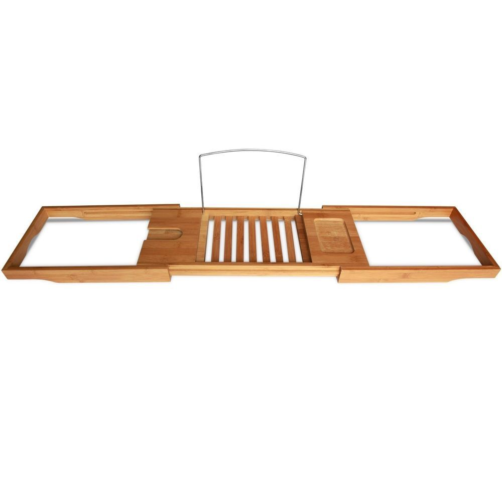 Bamboo bathtub caddy portable wextending sides fits any