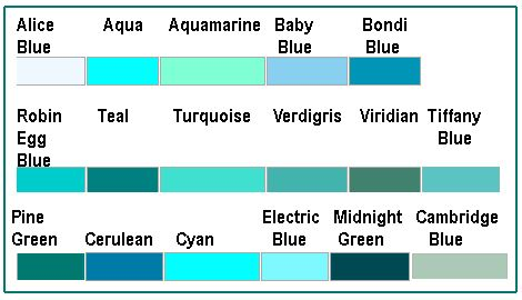 Diffe Blue Green Shades There Is A