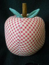 Large vintage red & beige gingham APPLE pin Cushion with cinnamon stick / CUTE !