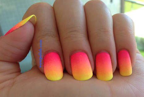 Nails Ombre Yellow Pink Peach Neoncolours Nail Art Summer Fall Nail Art Designs Neon Nail Designs