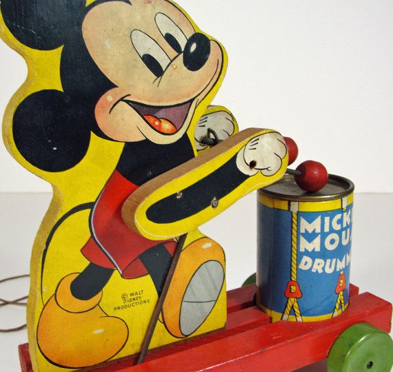Rare 1940s Fisher Price Wood Mickey Mouse Drummer by RetrofitStyle, $225.00
