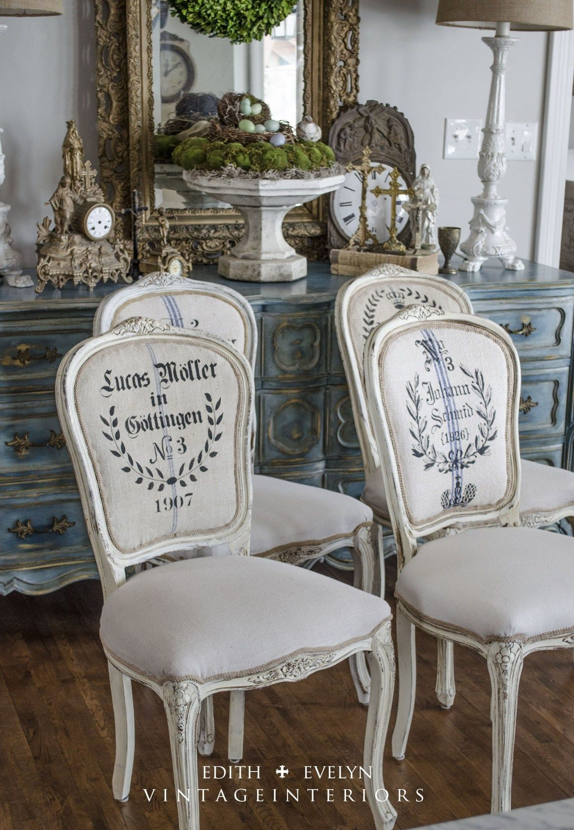 French Grain Sack Dining Chairs Huis Paleis French