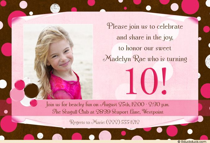 nice free template 10th birthday party invitation wording bagvania