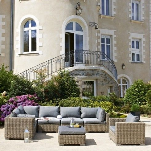 Salon de jardin Luxe MONTMARTRE 6 à 8 places en résine tressée de ...