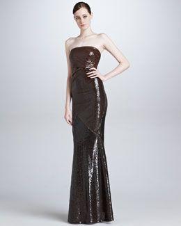 Donna Karan Draped Strapless Sequin Evening Gown, Chestnut