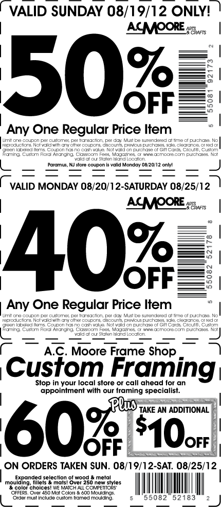 50% off a single item and more at A.C. Moore crafts coupon via The ...