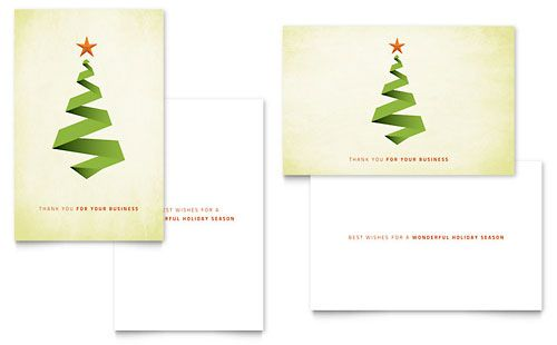 Ribbon Tree Greeting Card Template by @StockLayouts Holiday - christmas card templates for word
