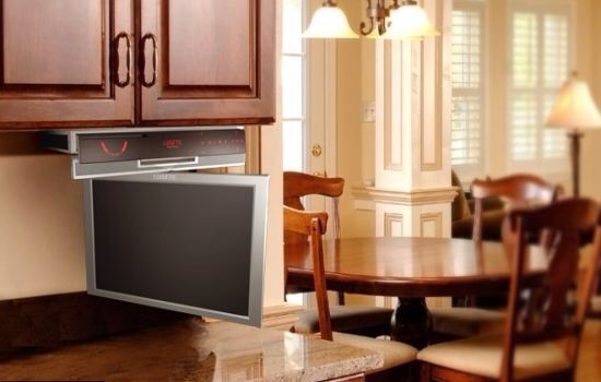 Under cabinet tv   Tv in kitchen, Home, Tv in bathroom