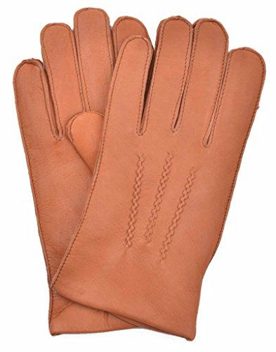 YISEVEN Mens Cashmere Lined Deerskin Leather Gloves Hand Sewn