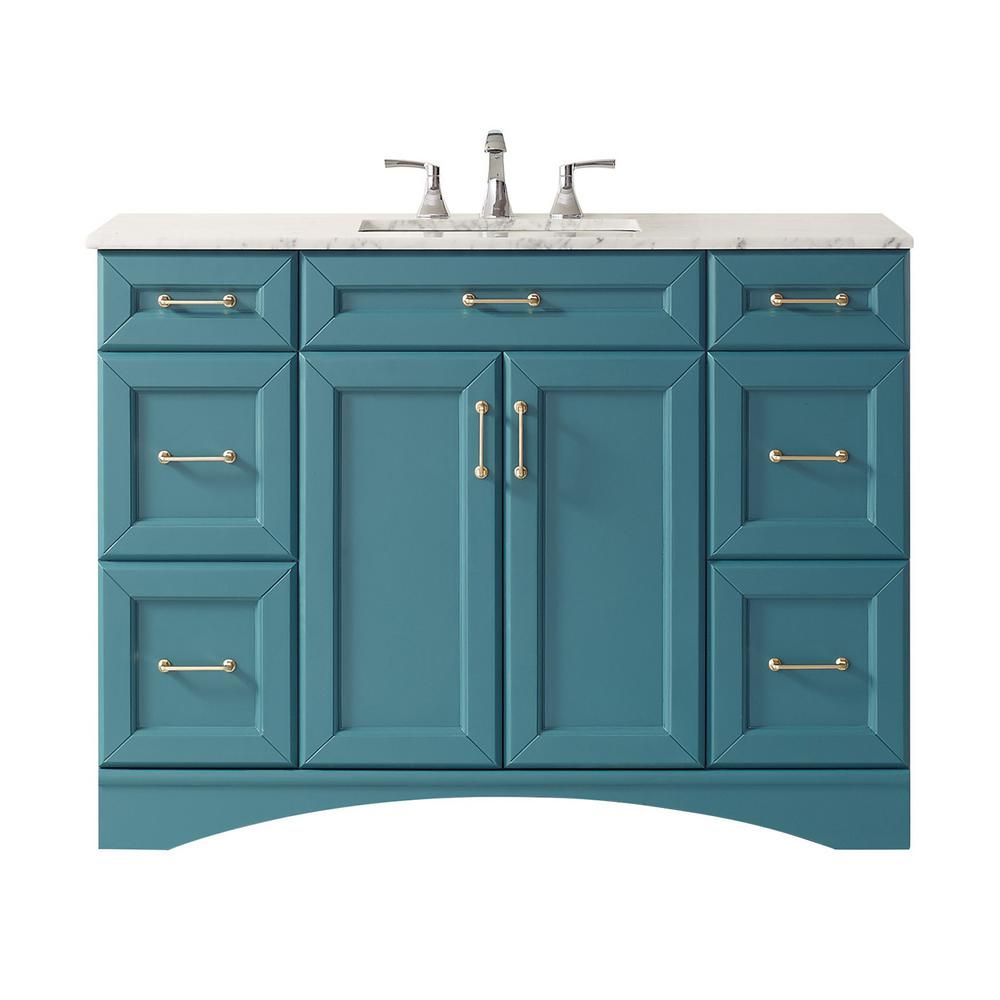 Roswell Naples 48 Vanity In Royalgreen With Carrara White Marble