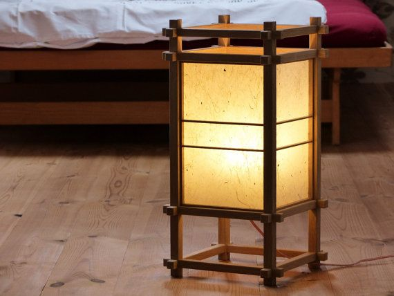 Traditional Japanese Shoji Lamp Made From Beech Or Oak Wood And Washi Paper From Paper Mulberry Kozo All Hand Ma Japanese Lamps Table Lamp Wood Wooden Lamp