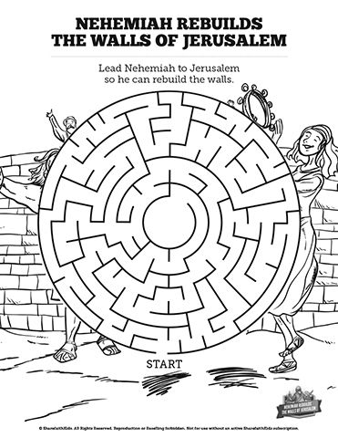 nehemiah bible study for kids coloring pages | Book of Nehemiah Bible Mazes: Can your kids lead Nehemiah ...