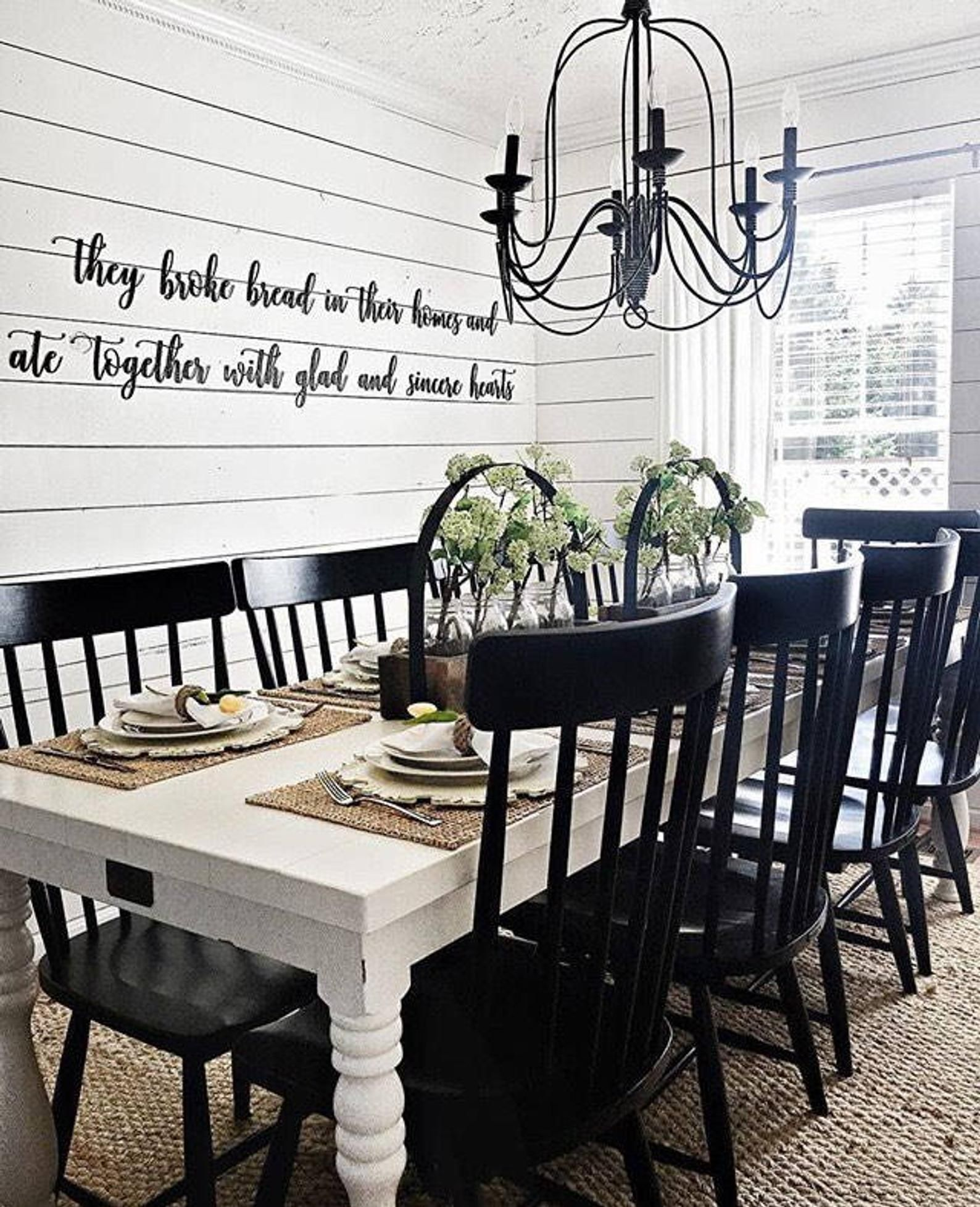 SALE! They Broke Bread in their Homes and ate Together with glad and sincere Hearts- Wall Art #farmhousediningroom