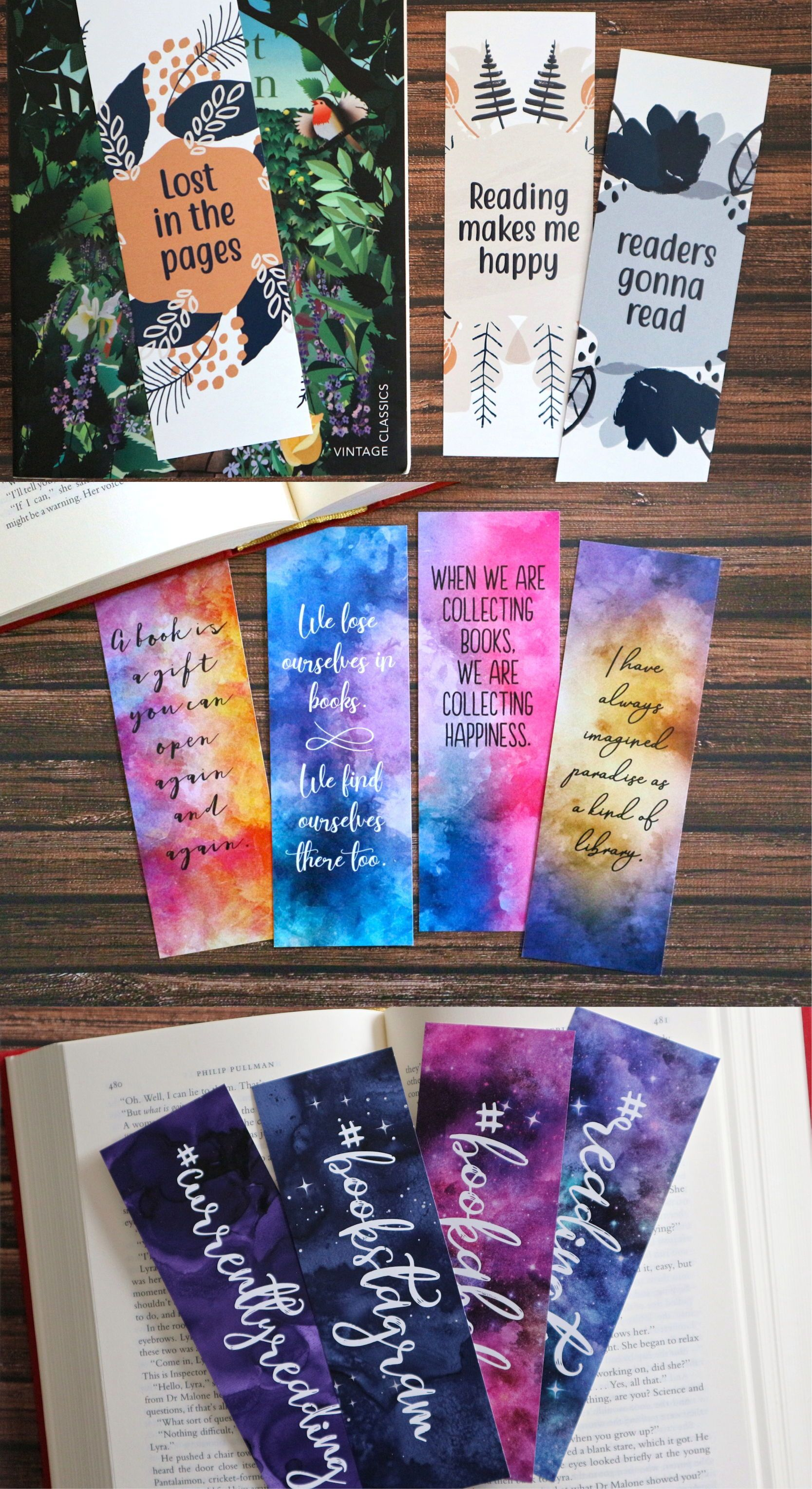 Watercolor Bookmarks Printable For Book Lovers Bookstagram