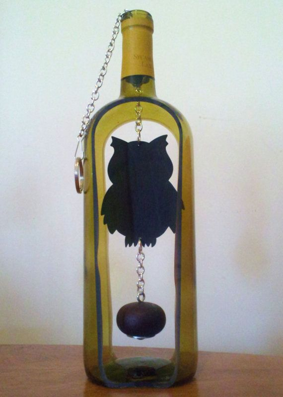 Yellow Owl Wine Bottle Wind Chime