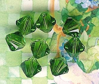 6mm Fern Green Austrian Swarovski Crystals8 by JuliesBeadStore, $2.50