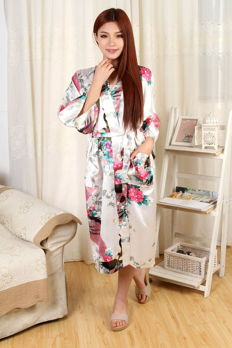 Womens Chinese Kimono Long Satin Robe faux Silk Night Gown Ladies ...