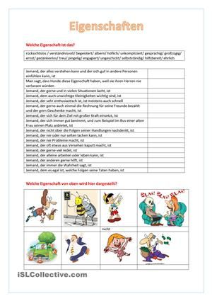 Eigenschaften   Tysk   Pinterest   German and Worksheets
