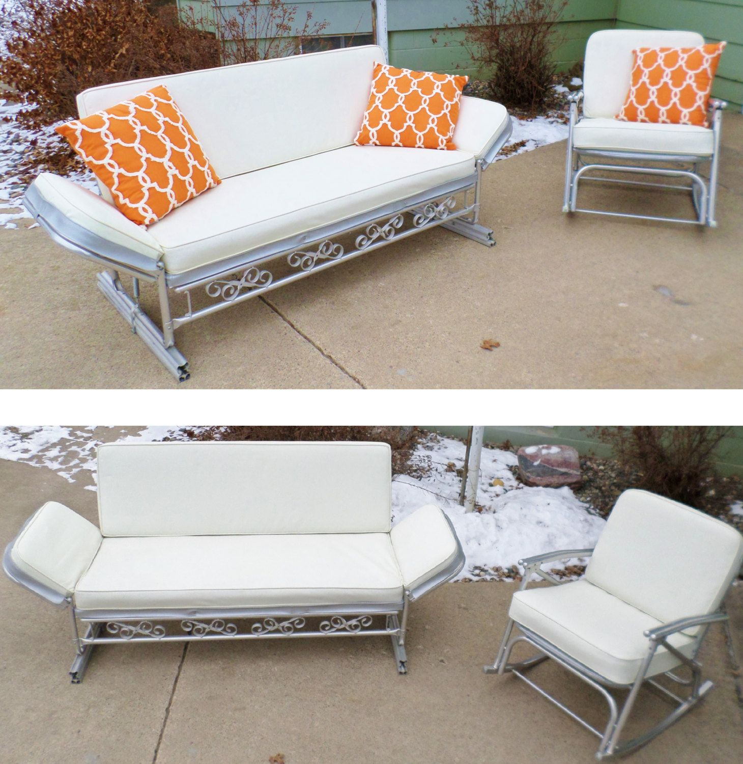 Vintage 1950's Patio Furniture Glider Sofa by ...