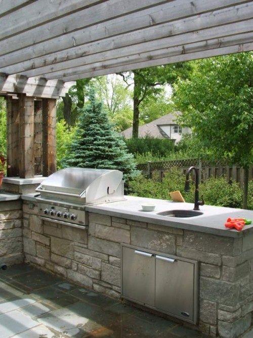 outdoor kitchen Outdoor kitchen ideas Pinterest - plan de travail pour barbecue exterieur