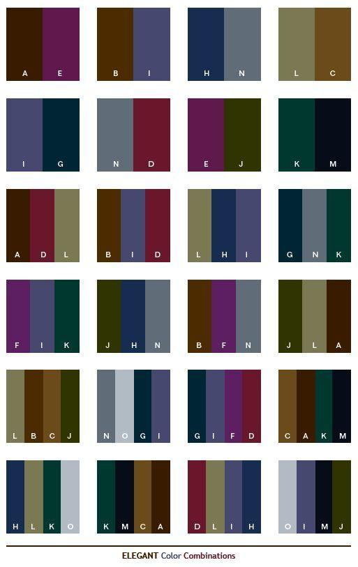 Elegant color schemes, color combinations, color palettes for print