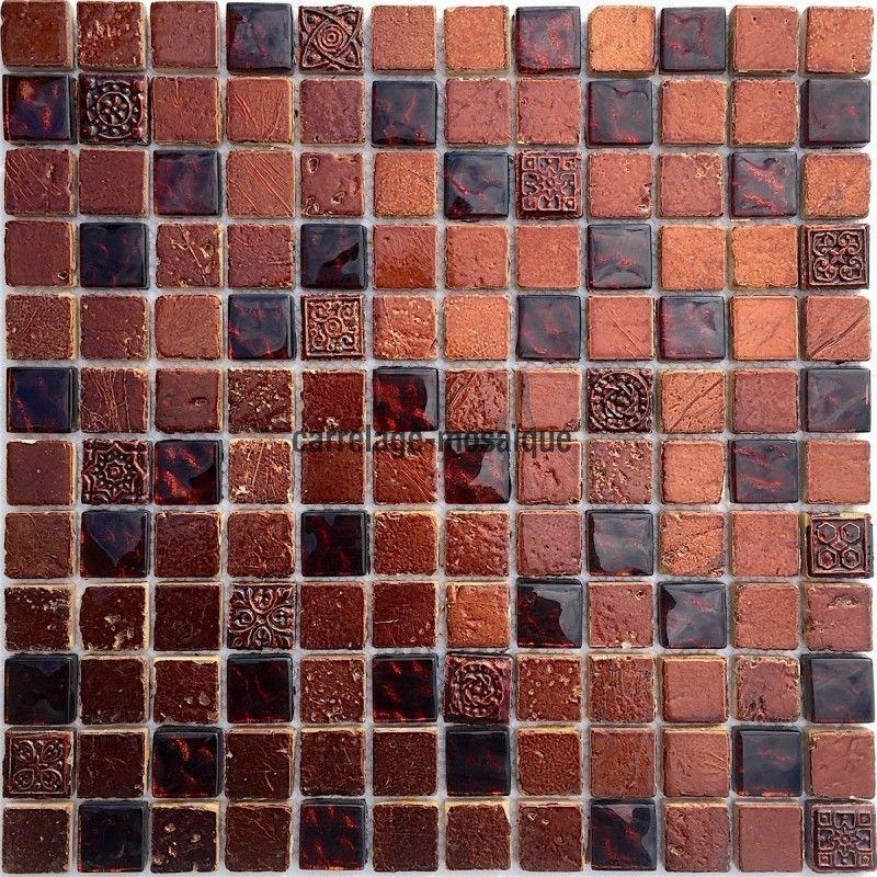 Details Sur Mosaique De Verre Et Pierre Metallic Marron