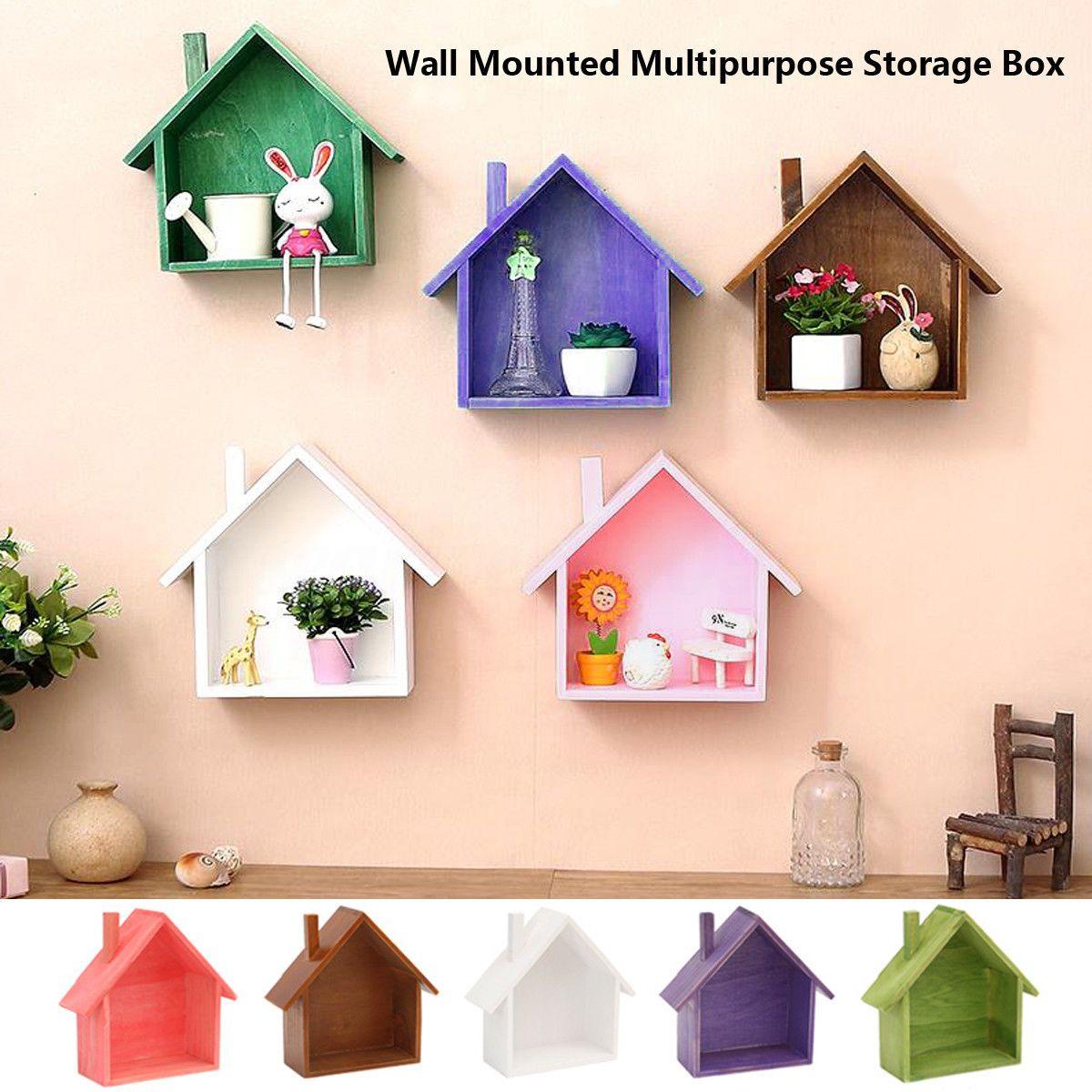 Etagere Support Murale Rangement Stockage Bois Maison Forme