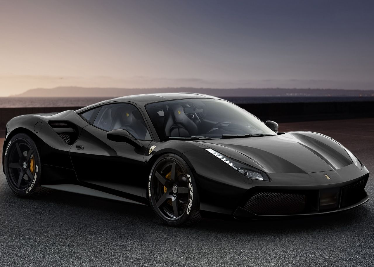 Ferrari 488 Gtb With Hre Rs105 In Satin Black Rendering Hre