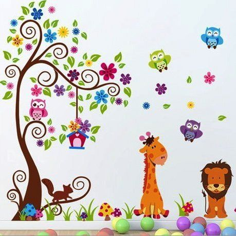 Beautiful XL Wandtattoo Wandsticker Eule Baum Giraffe L we Kinderzimmer Baby http