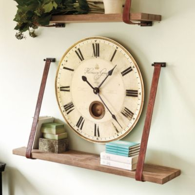 Leather Strap Wood Shelf Industrial Rustic European Inspired Home Decor