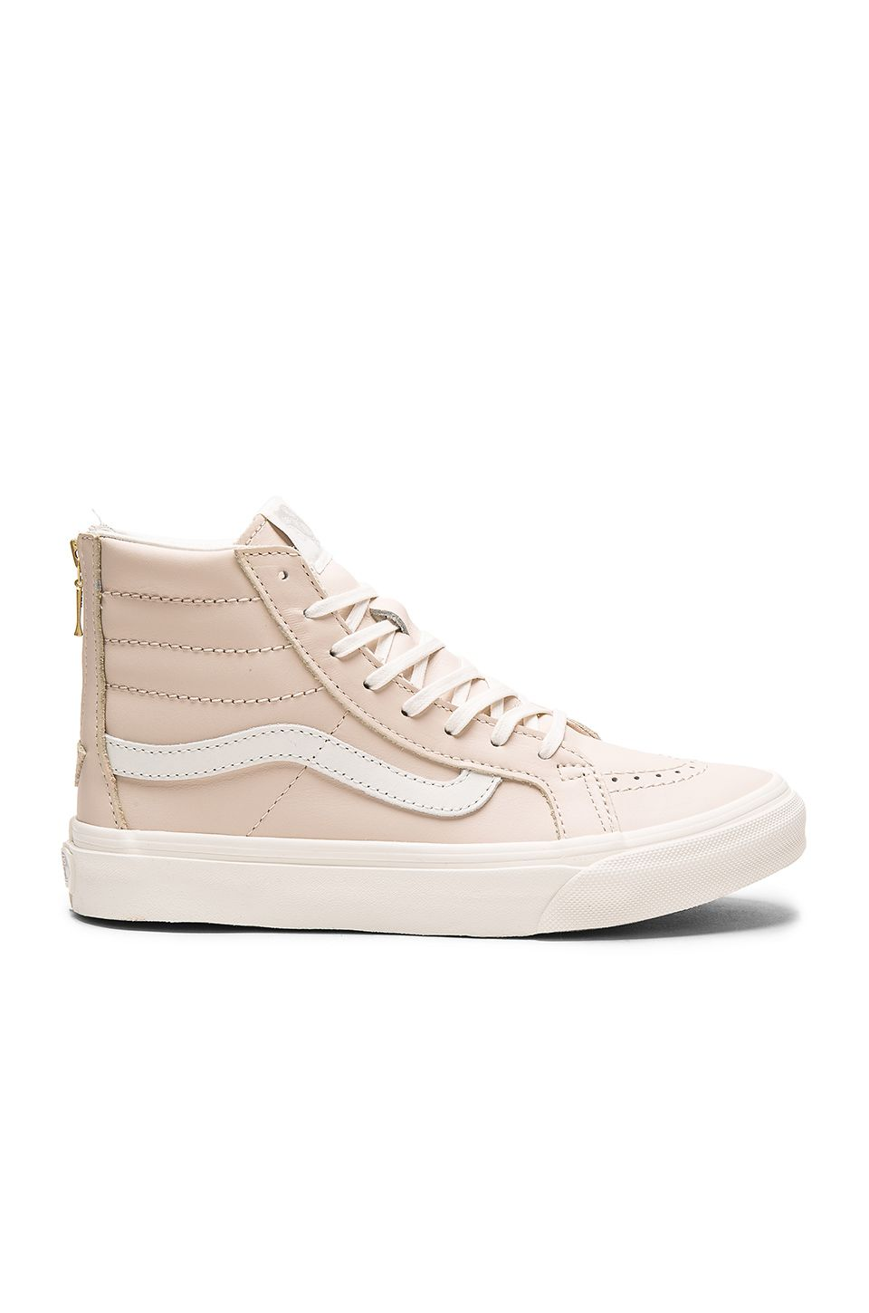 Vans Leather Sk8-Hi Slim Zip Sneaker in Whispering Pink & Blanc de Blanc