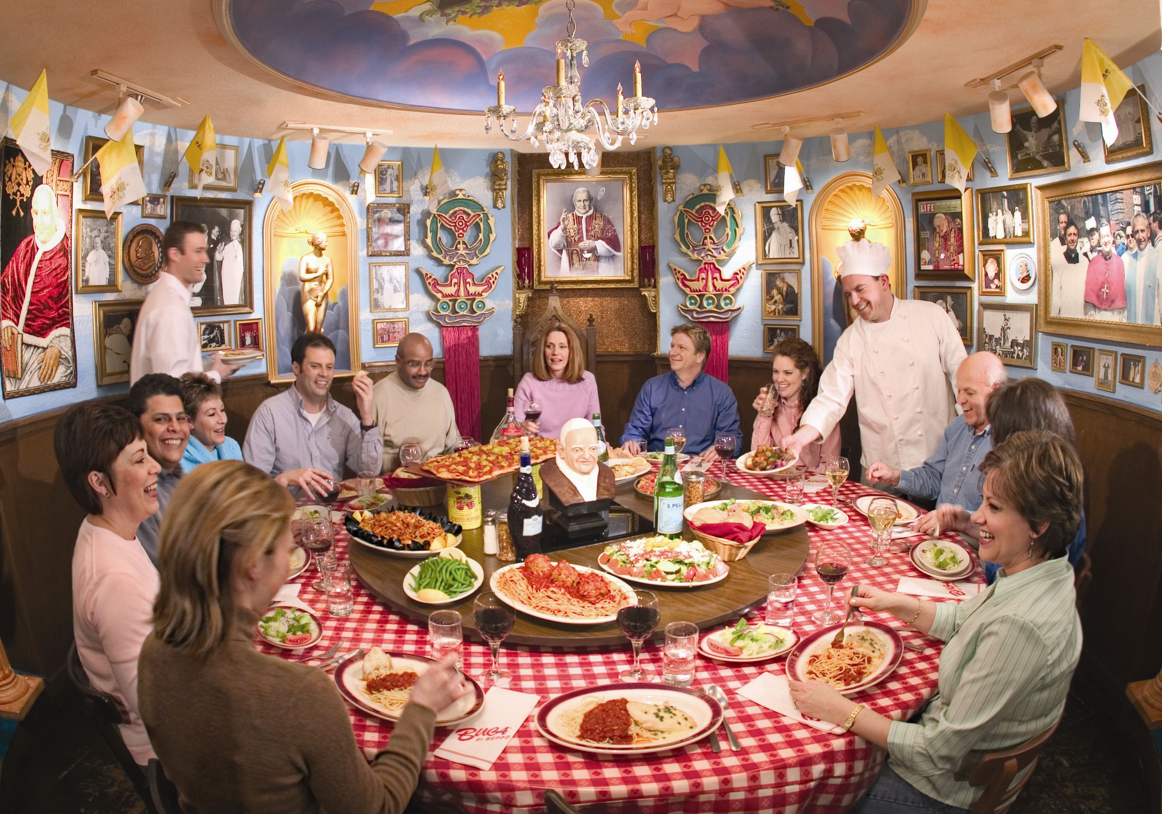 Image result for buca di beppo wall paper Serve family style