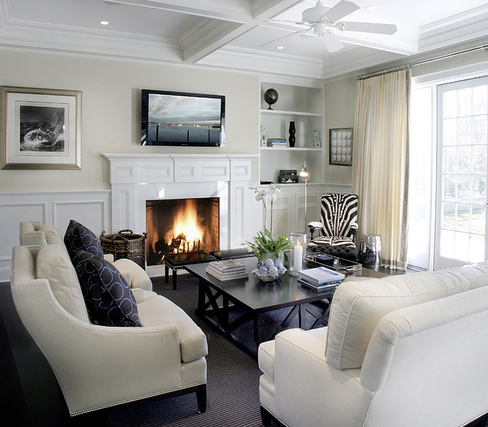 Suzie Elsa Soyars Ivory Transitional Living Room Design With White Sofa Sand Beige Chairs
