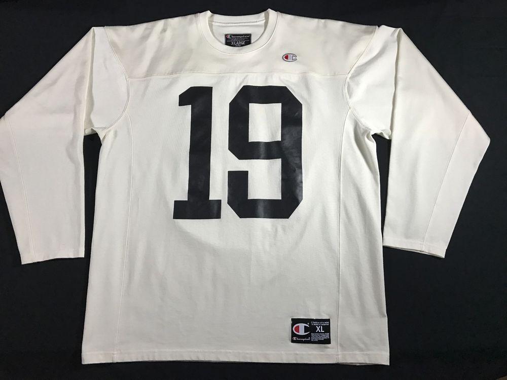 c70b9e054 Champion Brand Mens Long Sleeve Football Jersey Shirt Chalk White 19 Size  XL  Champion  Jerseys