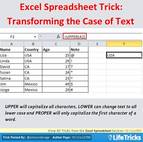 Excel Spreadsheet - Excel Spreadsheet Trick Transforming the Case - Spreadsheet Software Programs