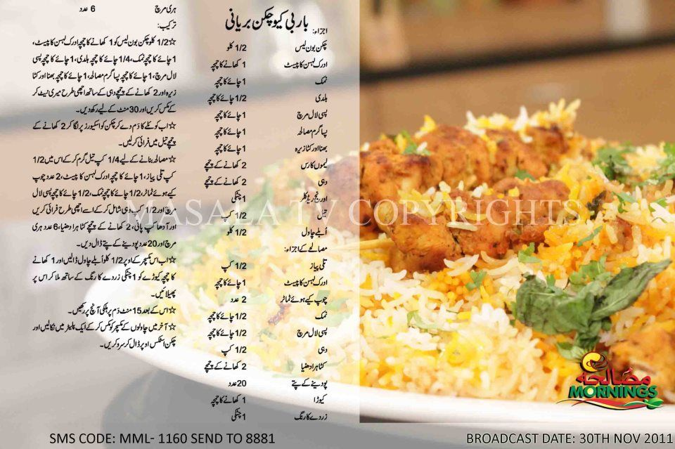 Bbq Chicken Biryani Cooking Recipes In Urdu Masala Recipe Masala Tv Recipe