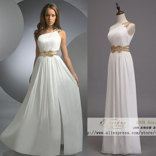 3b55865c7858 Elegant Grecian One Shoulder gold beading chiffon vestido white long ...