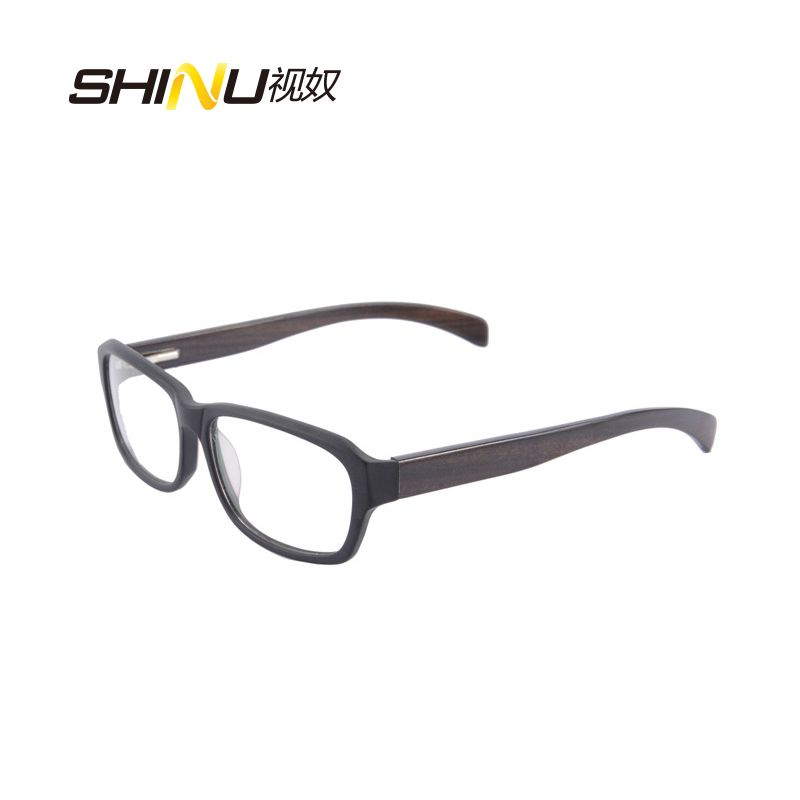 Click to Buy << Hot Sale Aceate Glasses Frame Wood Temples Eyeglass ...