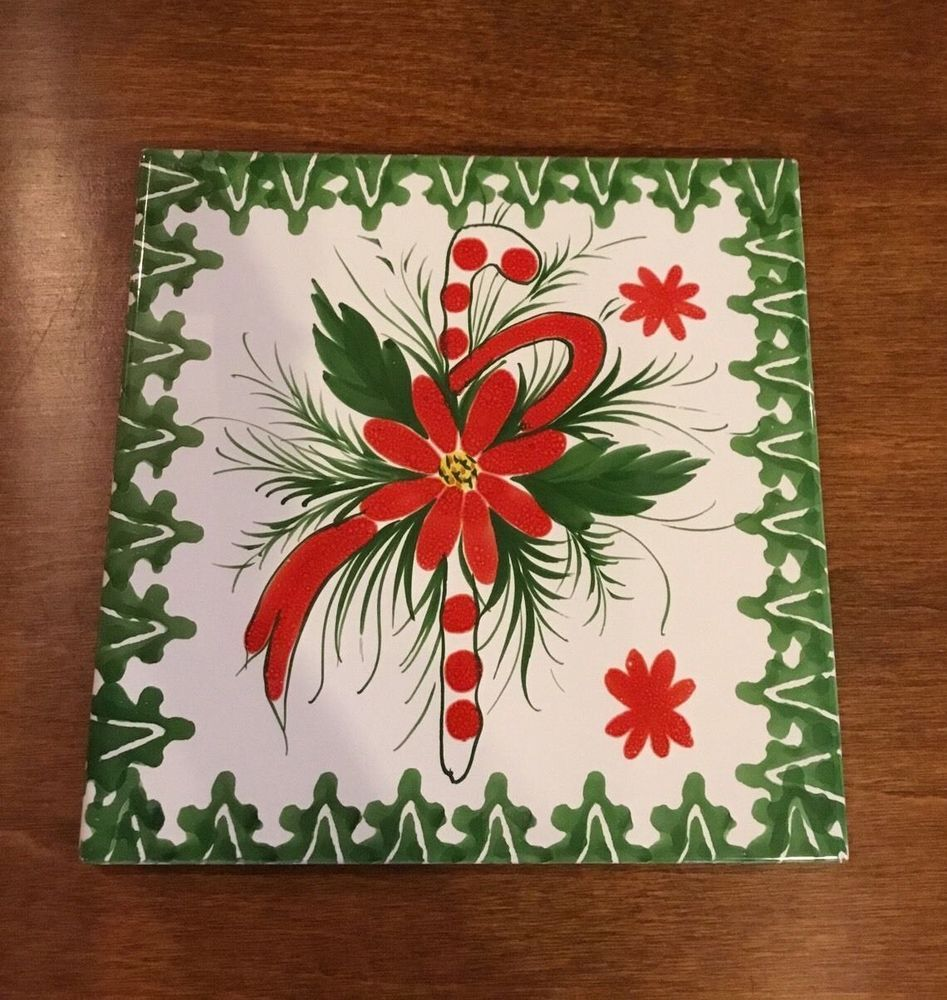 Supporto per bicottura christmas hand painted italian ceramic tile supporto per bicottura christmas hand painted italian ceramic tile trivet ebay dailygadgetfo Choice Image
