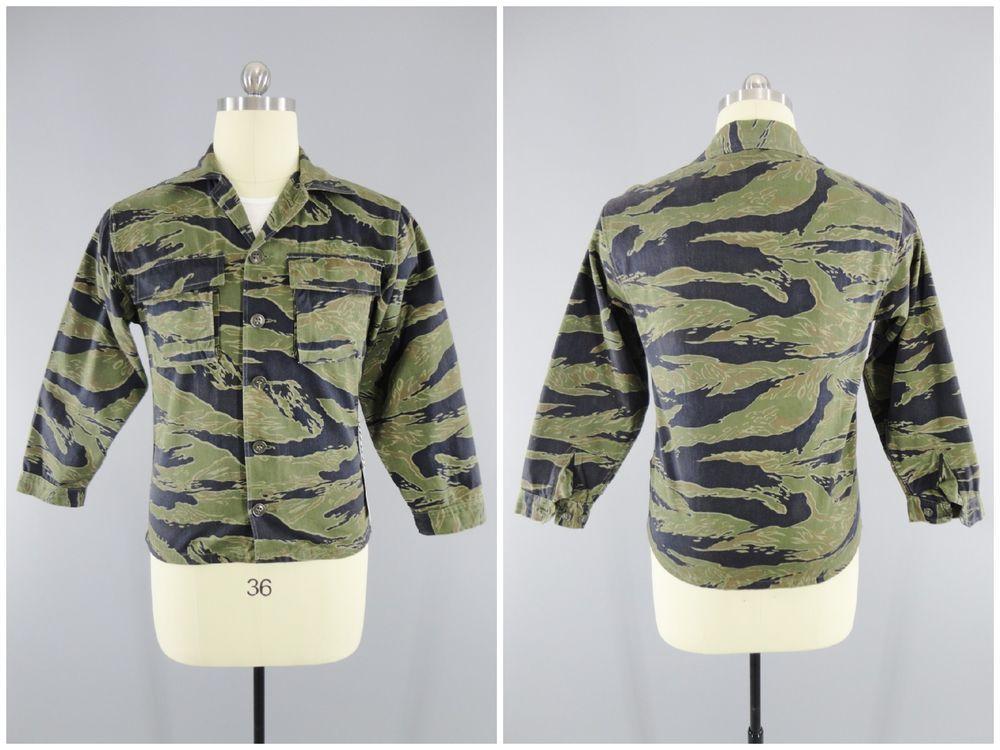 f1b48fc57f3d7a Original Vietnam War Tiger Stripe Camo Jacket ARVN Advisors Pattern A-L  Marked