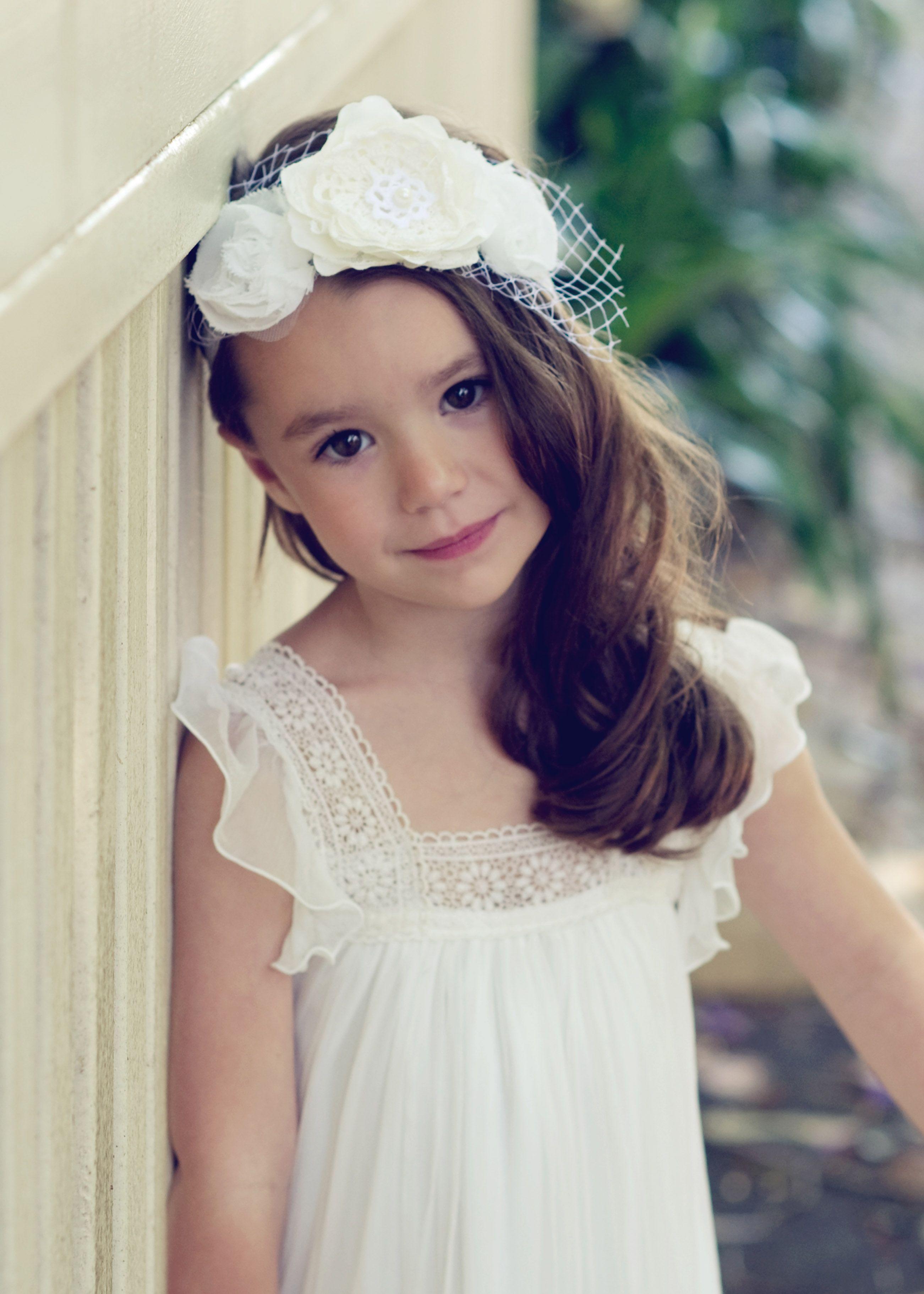 Flower girl dress tea princess olive dress white