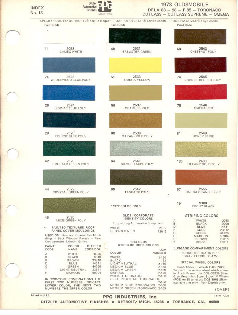 Image Result For 1973 Oldsmobile Cutlass Color Chart Cars