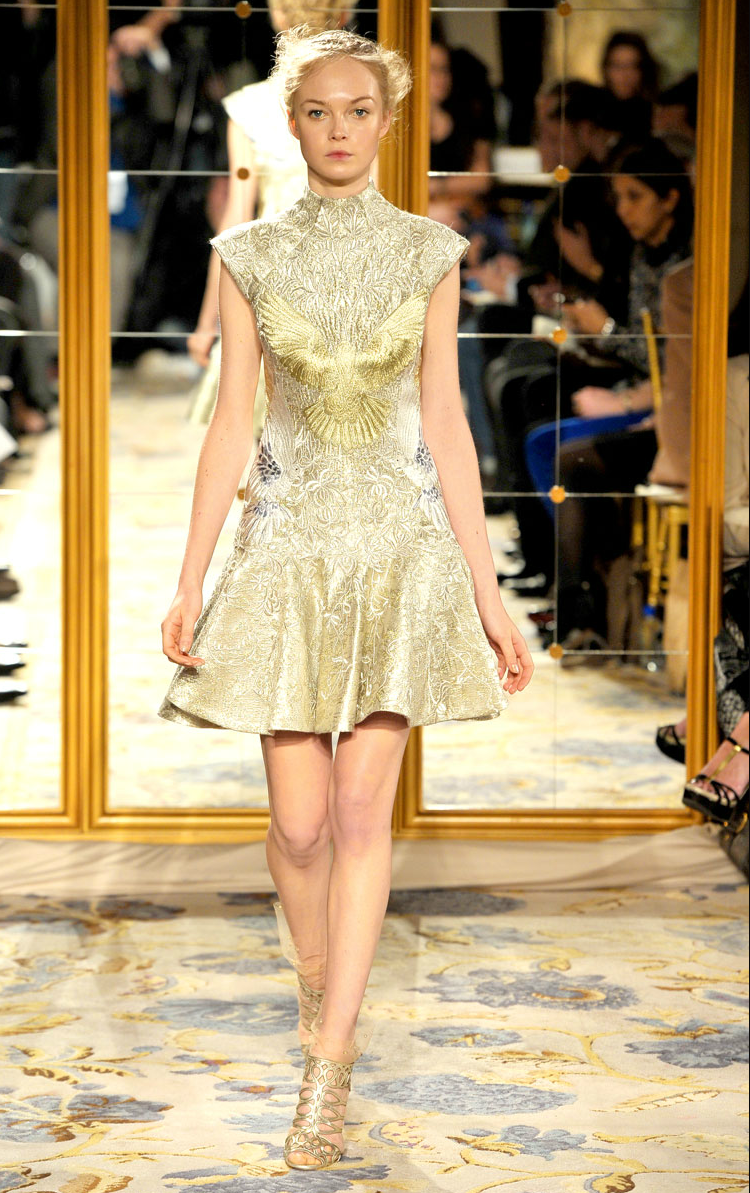 6e29afcaf4 sleeved little white dress gold embroidery dress - Dress Inspiration from  Marchesa