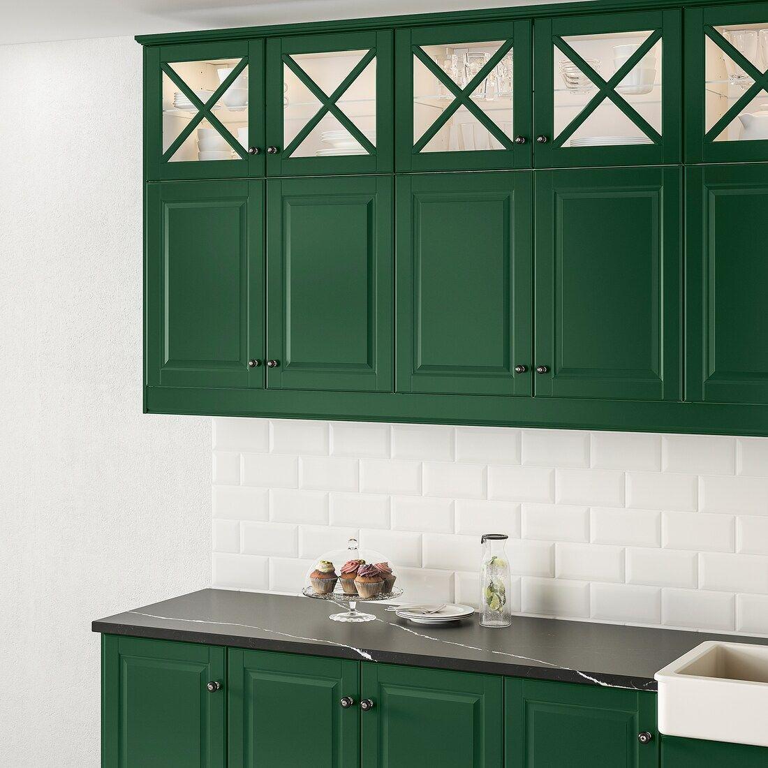 Bodbyn Glass Door With Crossbar Dark Green 15x15 Ikea Green Kitchen Cabinets Dark Green Kitchen Green Kitchen
