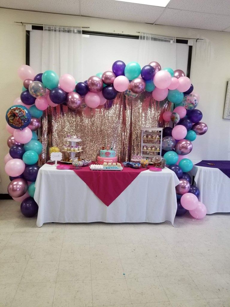 Paw Patrol Skye Everest Candy Table With Backdrop And Balloon Garland Paw Patrol Party Balloon Garland Birthday Parties