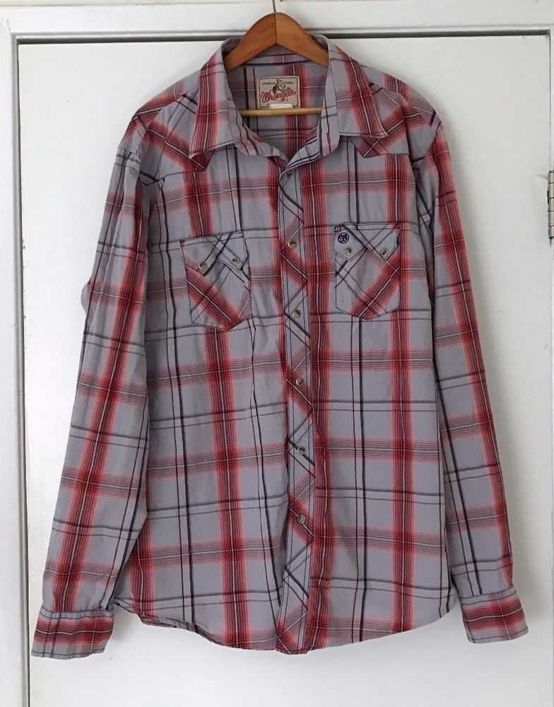 9bbd6289684 Wrangler Long Sleeve Western Shirt XL Tall Pear Snap Buttons Red Gray Plaid   Wrangler  Western