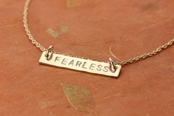 FEARLESS  Gold Fill Bar Pendant Necklace  by ChristinaGuenther